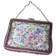 FABULOUS Vintage Floral Tapestry Small Handbag / Purse   Goldtone Chain