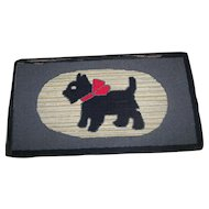 A Wonderful Old Hand Hooked Scottie Dog Mat Rug Lunenburg County Home Decor Accent
