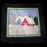 Small Vintage Hand Hooked Mat Scenic House Tree Scene Lunenburg County Nova Scotia