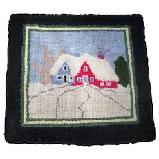 Small Vintage Hand Hooked Mat Scenic House Tree Scene Lunenburg County Nova Scotia