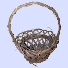 Primitive Farmhouse Farm House Style Branch Twig  Gathering Basket Home Decor Accent