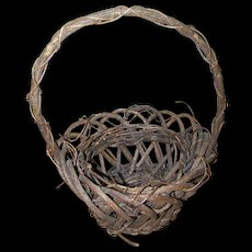 Primitive Farmhouse Farm House Style Branch Twig  Gathering Basket