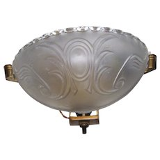 Deco Era Embossed Frosted Glass Slip Shade Wall Sconce Fixture Plus Added Replacement Shade
