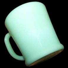 Vintage D Handle Green Jadite Jadeite Glass Mug Oven Ware Fire King
