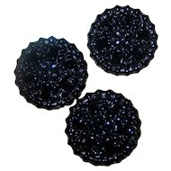 A Lovely Trio 3 Mourning Black Glass Buttons Decorative Embossed
