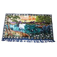Lovely Vintage Velvet Tapestry  Style Wall Hanging Scenic Pond Bird Art