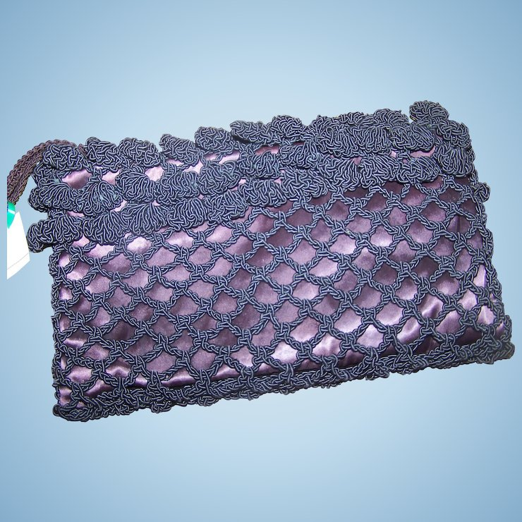 A Lovely Vintage Designer Crochet And Satin Clutch Style Purse By