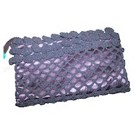 A Lovely Vintage Designer Crochet and Satin Clutch Style Purse By Joseph