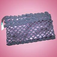 A Lovely Vintage Designer Crochet and Satin Clutch Style Purse By Joseph
