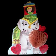 Charming Vintage  Hearts Circus Elephant Child Valentine Paper Greeting Card