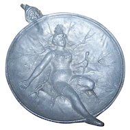 Odd White Metal Risque Circus Performer  Lady In Costume Gnome Pin Dish