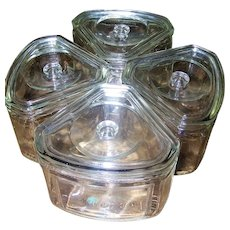 4 Triangular  Glass Hoosier Refrigerator Covered Dishes USA MACY Food Saver PAT 88111 by Canton Glass
