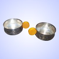 Unusual Bauhaus Period Deco Style Butterscotch Handled Silver Plate Silverplate Cup Holders