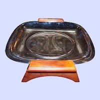 "Glo-Hill Gourmates 7"" Square Serving Dish Mid-Century Bakelite Handles & Feet"