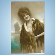 Pretty Lady Wearing Fur Real Photo Tinted Postcard P.C. Paris