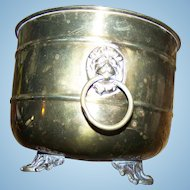 Vintage Made in India Brass Footed Planter Pot with Lion Door Knocker Style Handles