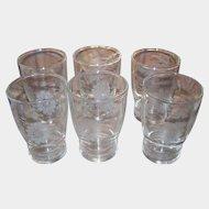 Six Cornflower Etched Small Glasses Juice W.J. Hughes Dominion Glass Canada