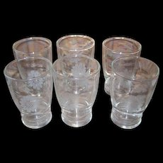 Six Cornflower Etched Small Glasses Juice W.J. Hughes Dominion Glass Canada