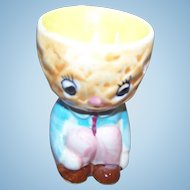 Sweet VintageNovelty Ceramic Anthropomorphic Pineapple Head Egg Cup  Japan