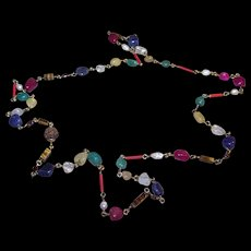 Lovely Vintage Mixed Gemstone Pebble Fresh Water Pearl Seed Necklace