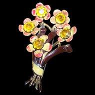Lovely Deco Era Designer Signed CORO Enamel Rhinestone Pot Metal Flower Brooch Pin