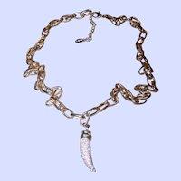 Vintage 1990's era Designer Signed ALDO Gold Tone Metal Claw Style Rhinestone Necklace