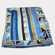 100 % Silk Sally Gee Geometric Print Long Rectangular Fashion Scarf Frayed Edges