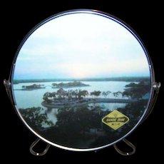 Vintage Diamond Brand Scenic Flip Style Mirror and Stand