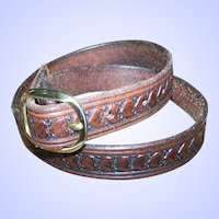 Hand Tooled Leather Belt Heart Pattern Design Solid Brass Buckle