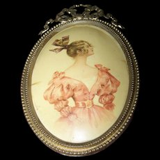 Vintage  Fine Light Weight  BRASS Tin  Metal Frame with Ribbon Bow Accent Lady Of Fashion Insert