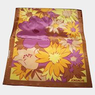 Long Rectangular Ladies Fringed  Fashion Scarf Floral Fall Colors Designer Signed Jordache
