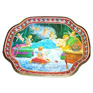 Vintage  Tin Litho Sleeping Beauty Tray  Made in England The Metal Tray Manufacturing Company