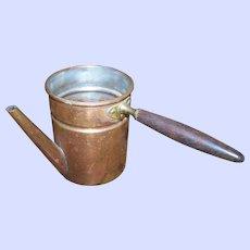 Vintage  Copper  Metalware Turkish Coffee Pot with Wood Handle