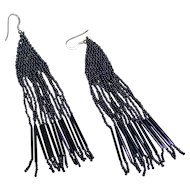 Vintage Black Seed Glass Bead First Nation Beaded Fringe Style Earrings