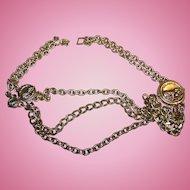 GRRRRRRRRowl A Lion Themed Wild Cat  Brass Metal Ladies Fashion Belt 26 inches Channel Style