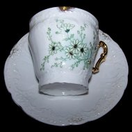Lovely Old Embossed Hand Painted Decorated Daisy FLoral Teacup Saucer Set Gold Decoration Handle