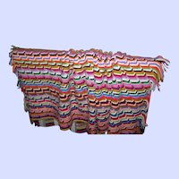 Bright Colorful Cheerful Hand Knit  Blanket of Many Colors Home Decor Accent