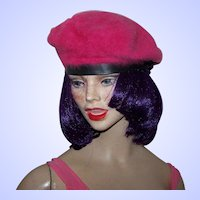 Pretty In Pink Angora Parkhurst Ladies Fashion Beret Hat Tam Canadian Made