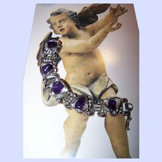 Book Chain Style Purple Amethyst Polished Gemstone Bracelet