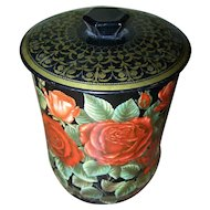 Pretty Tin Litho Red Roses Flower FLoral Pattern Canister Tin England