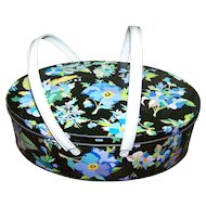 Vintage Pansies Floral Tin  Litho Biscuit Basket Container With Handles Made in England