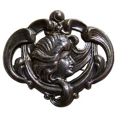 Sterling Front Maiden with Flowing Hair Pin Fashion Accessory  Brooch Nouveau Style