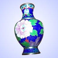 Vintage Chinese Cloisonne  Enamel Floral w/Butterfly Decorative Metalware Brass Vase