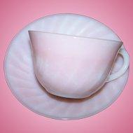 Pink Flamingo Swirl Fire King Oven Ware Glass Tea Cup Saucer Set USA