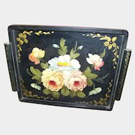 Stunning Vintage Folk Art Hand Painted Wood Wooden Flower Floral Pattern Tray