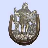 Lovely Small Decorative  Vintage Child Door Knocker Brass Metalware