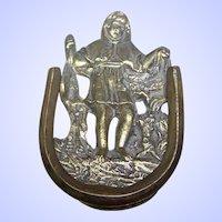 Lovely Small Decorative  Vintage Child Door Knocker Brass Metalware