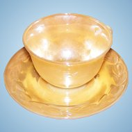 Vintage Peach Lustre Tea Cup Saucer Set with Original Stickers Fire King Oven Ware