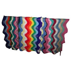 Colorful Cheerful Hand Crochet Vintage Blanket Bedspread