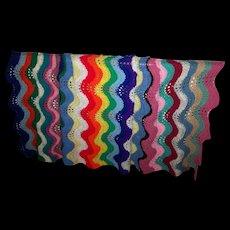 Colorful Cheerful Hand Crochet Vintage Blanket Bedspread